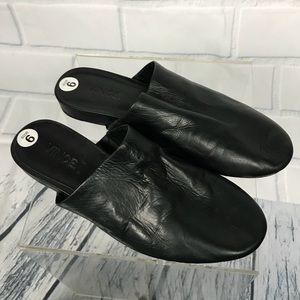 Vince Oren Leather Black Mules Sz 6